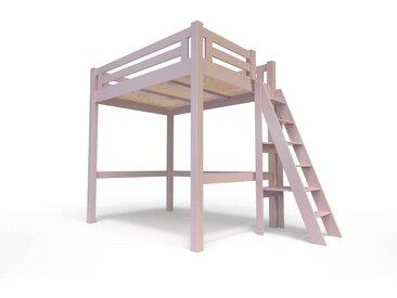 Lit Mezzanine Alpage bois + échelle hauteur réglable 120x200cm Violet Pastel
