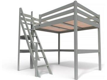 Lit Mezzanine Sylvia avec escalier de meunier bois 140x200cm Gris