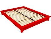 Lit futon 2 places bois massif Solido 140x190cm Rouge
