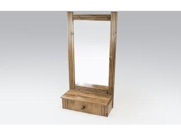 Miroir mural + 1 tiroir bois Sapin Vernis  Sapin Vernis