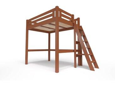 Lit Mezzanine Alpage bois + échelle hauteur réglable 160x200cm Chocolat