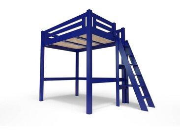Lit Mezzanine Alpage bois + échelle hauteur réglable 120x200cm Bleu foncé