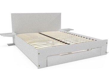 Lit Happy + tiroirs + chevets amovibles - 2 places 140x190cm Gris Aluminium
