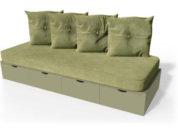 Banquette cube 200 cm + futon + coussins  Taupe