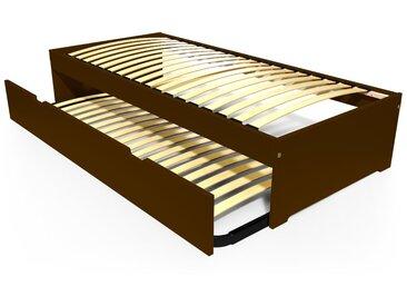 Lit gigogne Malo avec tiroir lit bois 90x190cm Wengé