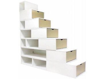 Escalier Cube de rangement hauteur 175 cm  Blanc/Moka