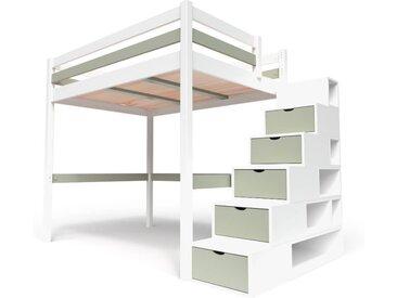 Lit Mezzanine Sylvia avec escalier cube bois 120x200cm Blanc/Moka