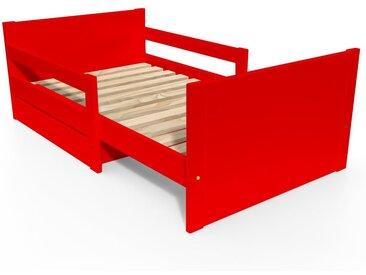Lit évolutif enfant avec tiroir bois 90 x (140/170/200)cm Rouge