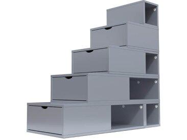 Escalier Cube de rangement hauteur 125 cm  Gris Aluminium