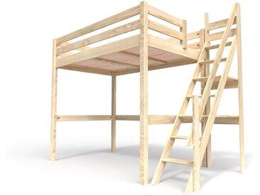 Lit Mezzanine Sylvia avec escalier de meunier bois 120x200cm Brut