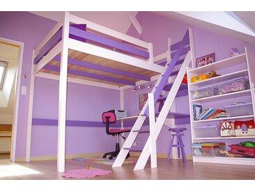 Lit Mezzanine Sylvia avec escalier de meunier bois 90x200cm Blanc/Lilas