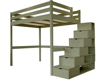 Lit Mezzanine Sylvia avec escalier cube bois 140x200cm Gris