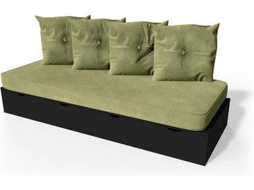 Banquette cube 200 cm + futon + coussins  Noir
