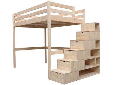 Lit Mezzanine Sylvia avec escalier cube bois 120x200cm Brut