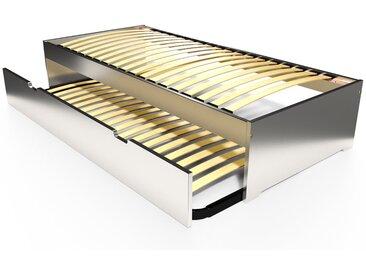 Lit gigogne Malo avec tiroir lit bois 80x190cm Gris Aluminium