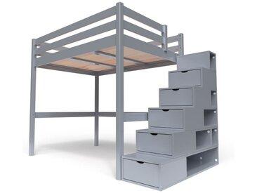 Lit Mezzanine Sylvia avec escalier cube bois 140x200cm Gris Aluminium