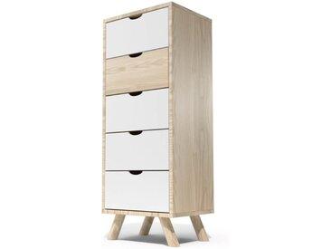 Chiffonnier Scandinave bois 5 tiroirs Viking  Vernis naturel/Blanc