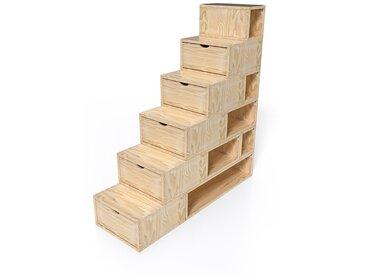 Escalier Cube de rangement hauteur 150cm  Vernis Naturel