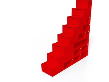 Escalier Cube de rangement hauteur 200 cm  Rouge