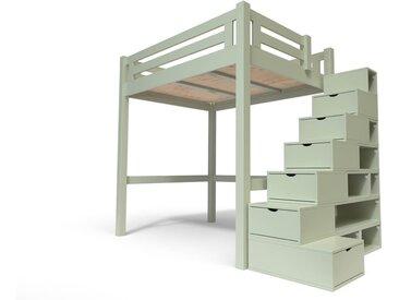 Lit Mezzanine Alpage bois + escalier cube hauteur réglable 140x200cm Moka