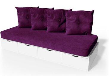 Banquette cube 200 cm + futon + coussins  Blanc