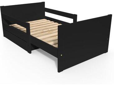 Lit évolutif enfant avec tiroir bois 90 x (140/170/200)cm Noir