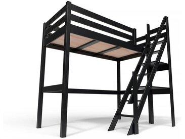 Lit Mezzanine Sylvia avec escalier de meunier bois 90x200cm Noir