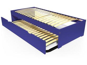 Lit gigogne Malo avec tiroir lit bois 80x190cm Bleu foncé