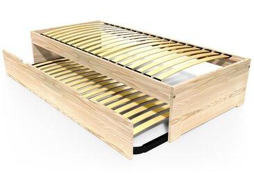 Lit gigogne Malo avec tiroir lit bois 90x190cm Brut