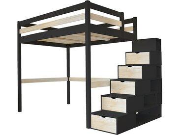 Lit Mezzanine Sylvia avec escalier cube bois 140x200cm Noir/Vernis naturel