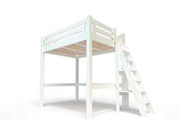 Lit Mezzanine Alpage bois + échelle hauteur réglable 140x200cm Blanc