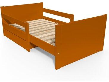 Lit évolutif enfant avec tiroir bois 90 x (140/170/200)cm Chocolat