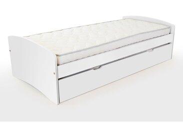 Lit gigogne Happy pin massif 80x190cm Blanc