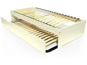 Lit gigogne Malo avec tiroir lit bois 90x190cm Ivoire