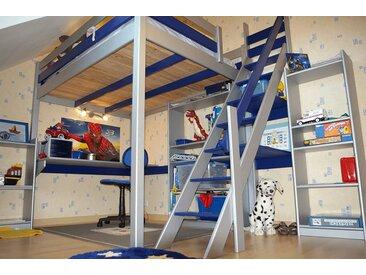 Lit Mezzanine Sylvia avec escalier de meunier bois 90x200cm Gris alu/Bleu