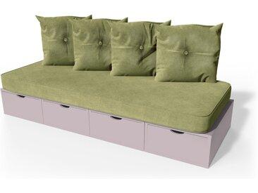 Banquette cube 200 cm + futon + coussins  Violet Pastel
