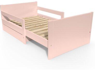 Lit évolutif enfant avec tiroir bois 90 x (140/170/200)cm Rose Pastel