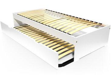 Lit gigogne Malo avec tiroir lit bois 80x190cm Blanc