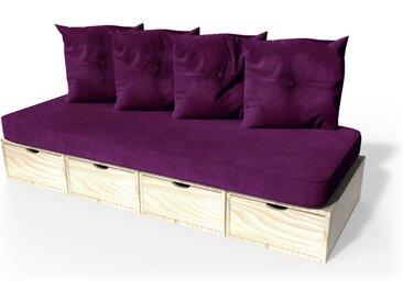 Banquette cube 200 cm + futon + coussins  Vernis Naturel
