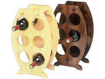 Porte 6 bouteilles bois en forme de tonneau  Teinté Noyer