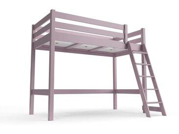 Lit haut ABC avec échelle inclinée 90x200cm Violet Pastel