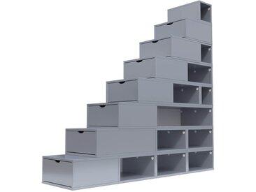 Escalier Cube de rangement hauteur 200 cm  Gris Aluminium