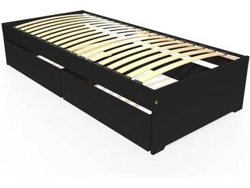Lit 90x190 simple avec tiroirs de rangement Malo 90x190cm Noir