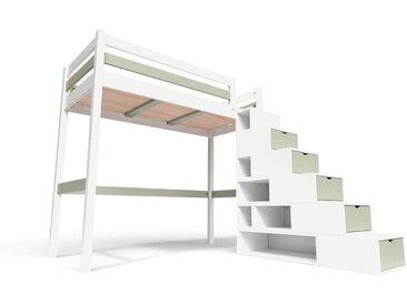 Lit Mezzanine Sylvia avec escalier cube bois 90x200cm Blanc/Moka