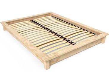 Lit futon 2 places bois massif Solido 140x190cm Brut