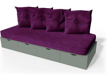Banquette cube 200 cm + futon + coussins  Gris