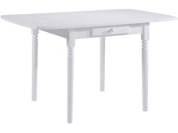 Table de cuisine 1 tiroir avec allonge Emeline Blanc Basika