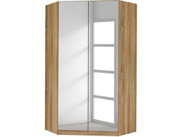 Armoire D'angle 2 Portes Miroirs Celle Chene Sonoma/blanc Brillant - Basika