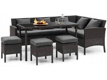 Blumfeldt Titania Lounge Salon de jardin complet polyrotin noir & gris foncé