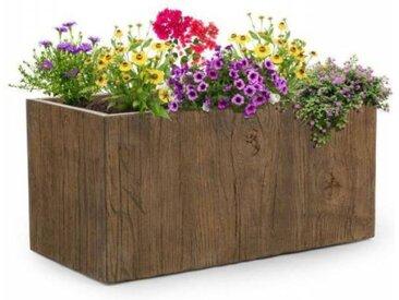 Blumfeldt Timberflor Bac à fleurs 80 x 40 x 40 cm fibre de verre - marron